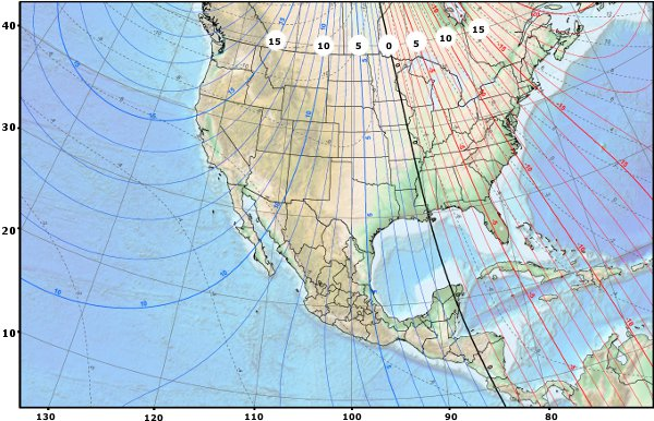 U.S. magnetic declination map